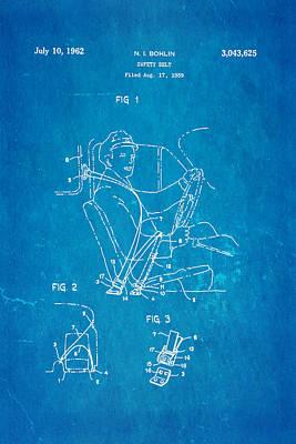 Car Photograph - Bohlin Seatbelt Patent Art 1962 Blueprint by Ian Monk