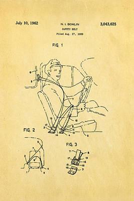 Car Photograph - Bohlin Seatbelt Patent Art 1962 by Ian Monk