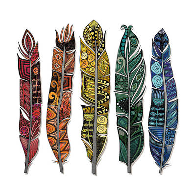 Geometric Drawing - Boho Feathers by Sharon Turner