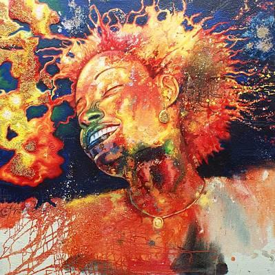 Boiling Flames Of Joy Art Print by Godwin Arikpo