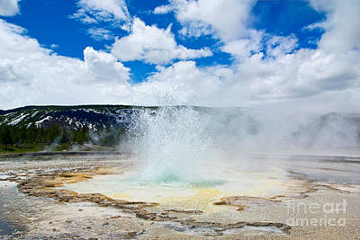 Ejecting Photograph - Boiling Point - Geyser Eruption In Yellowstone National Park by Jamie Pham