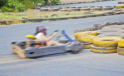 Go Kart Wall Art - Photograph - Boing Oops Dare I Say Lady Drivers by Kantilal Patel