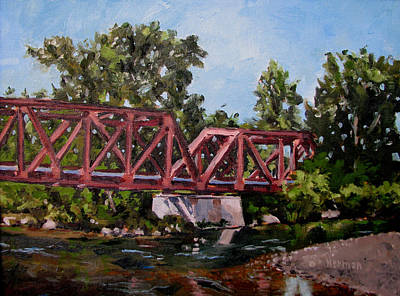 Painting - Boise Greenbelt 1923 Bridge by Les Herman