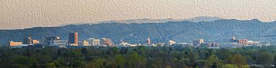 Digitally Manipulated Photograph - Boise Idaho Skyline Digital Oil Painting by Vishwanath Bhat