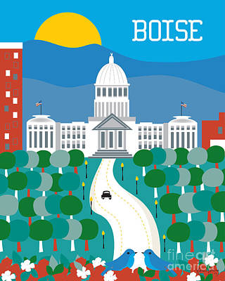 Capitol Building Digital Art - Boise by Karen Young