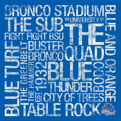 The Quad Photograph - Boise State College Colors Subway Art by Replay Photos