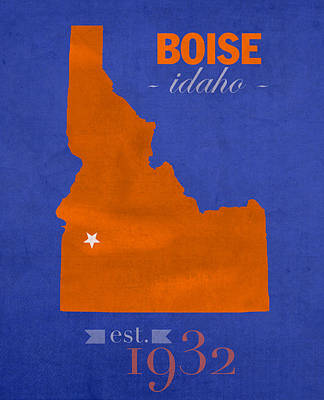 Boise State University Broncos Boise Idaho College Town State Map Poster Series No 019 Art Print by Design Turnpike
