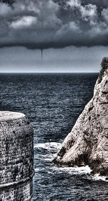 Photograph - Bokar Fortress And A Small Tornado In The Adriatic By Dubrovnik  by Weston Westmoreland