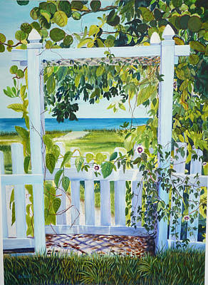 Passion Flower Vine Painting - Bokeelia Behind The White Picket Fence by Susan Duda