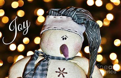Photograph - Bokeh Snowman Card by Karin Pinkham