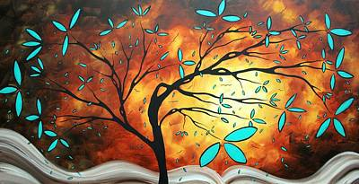 Bold Abstract Artwork Colorful Original Tree Blossoms Painting The Fire That Burns Within By Madart Art Print by Megan Duncanson