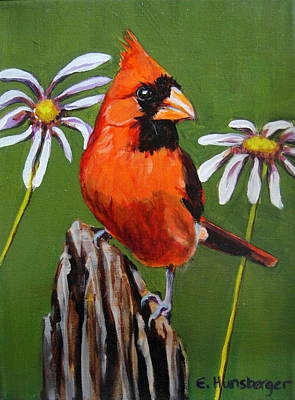 Painting - Bold Cardinal  by Edith Hunsberger