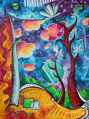 Bold Colorful Whimsical Original Pop Art Painting Landscape Art By Megan Duncanson Art Print by Megan Duncanson