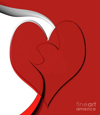 Bold Red Abstract Heart On Red And White Design 2 Art Print by Linda Matlow