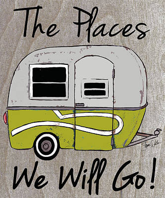 Camper Painting - Boler On Wood Background by Shanni Welsh