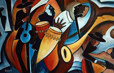 Cuban Music Painting - Bolero In Acrylic by Valerie Vescovi