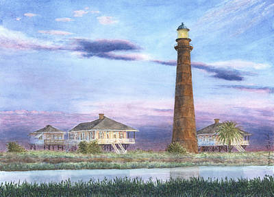 Galveston Painting - Bolivar Light by Carolyn English