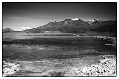 Photograph - Bolivian Desert Lake Black And White Framed by For Ninety One Days