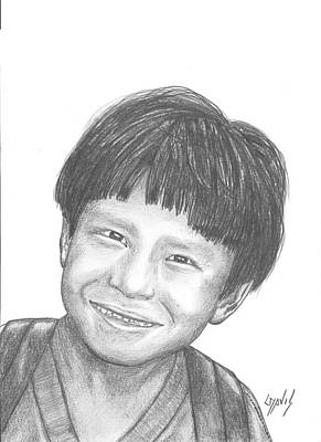 Art Print featuring the drawing Bolivian Jungle Child by Lew Davis