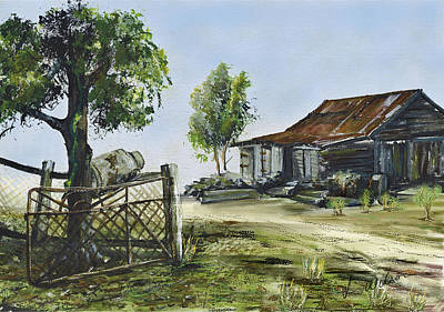 Bollier Shed And Gate Art Print by Lynne Wilson