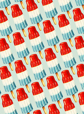 Blue And Red Painting - Bomb Pop Pattern by Kelly Gilleran