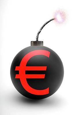 Fused Photograph - Bomb With Euro Symbol by Victor De Schwanberg