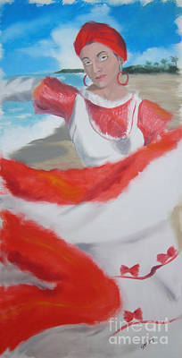Borinquen Painting - Bomba Dancer by Angela Melendez
