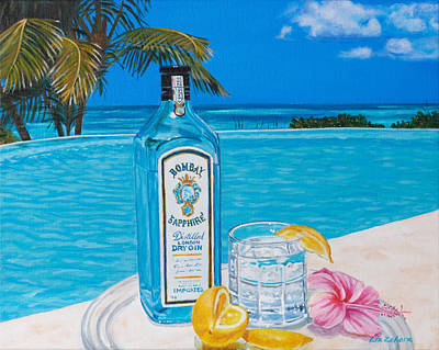 Painting - Bombay Gin By The Pool by Liz Zahara