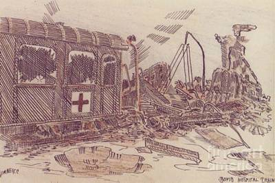 Ww Ii Drawing - Bombed Hospital Train Ww II by David Neace