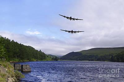 Derwent Dam Digital Art - Bombers At The Dam  by J Biggadike