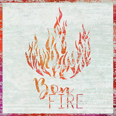 Campfire Painting - Bon Fire by Cora Niele