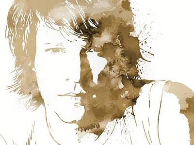 Music Mixed Media - Bon Jovi Paint Splatter Sepia by Dan Sproul