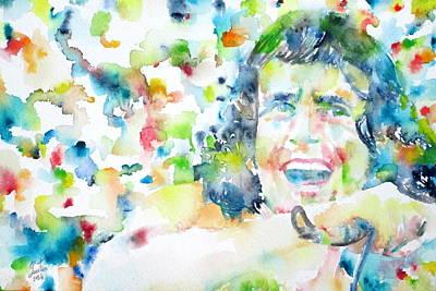 Ac - Dc Painting - Bon Scott - Watercolor Portrait by Fabrizio Cassetta