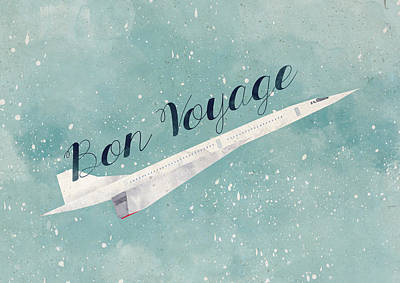 Airplane Digital Art - Bon Voyage by Randoms Print