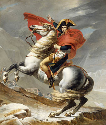 Bamboo Wall Painting - Bonaparte Crossing The Grand Saint-bernard Pass by Jacques-Louis David