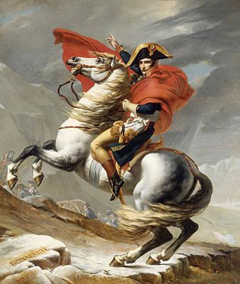 Famous Horse Art Painting - Bonaparte Crossing The Grand Saint-bernard Pass by Jacques-Louis David