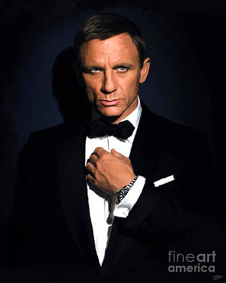 Spy Painting - Bond - Portrait by Paul Tagliamonte