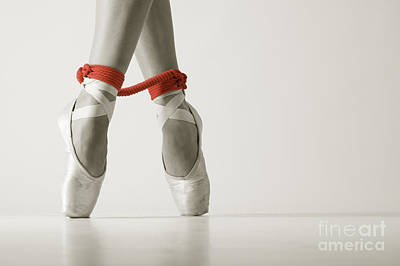Ballet Shoes Photograph - Bondage Ballet Red Rope by John Tisbury