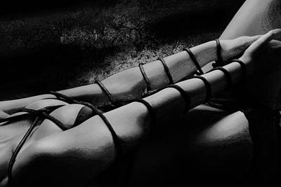 Fetish Art Mixed Media - Bondage Shibari Black And White Impressionism by Rod Meier