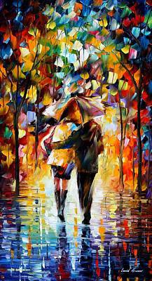 Bonded By The Rain 2 - Palette Knife Oil Painting On Canvas By Leonid Afremov Original