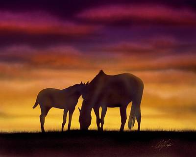 Bonding At Dusk - 2 Art Print