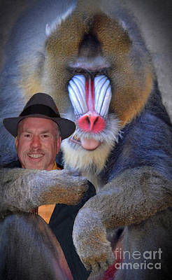 Portrait Photograph - Bonding With My New Mandrill Buddy II by Jim Fitzpatrick