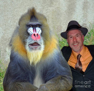Bonding With My New Mandrill Buddy  Art Print