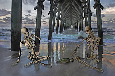 Pier Digital Art - Bonefied Buddies by Betsy Knapp