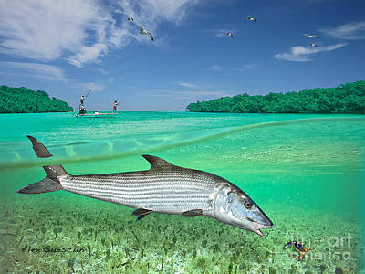 Bonefish Flat Art Print by Alex Suescun