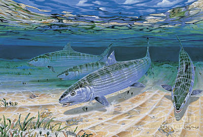 Fly Fishing Painting - Bonefish Flats In002 by Carey Chen