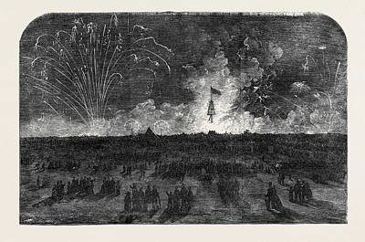 Fireworks Drawing - Bonfire And Fireworks On Blackheath by English School