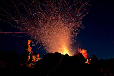 Bonfire Sparklers - Big Horn Mountains - Buffalo Wyoming Original by Diane Mintle