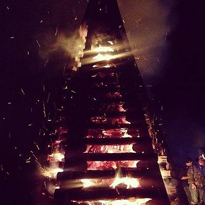 River Wall Art - Photograph - Bonfires #igersoflouisiana by Scott Pellegrin