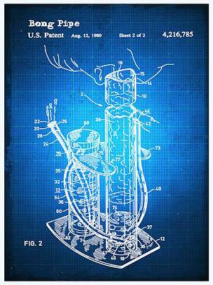 Mixed Media - Bong Patent Blueprint Drawing by Tony Rubino